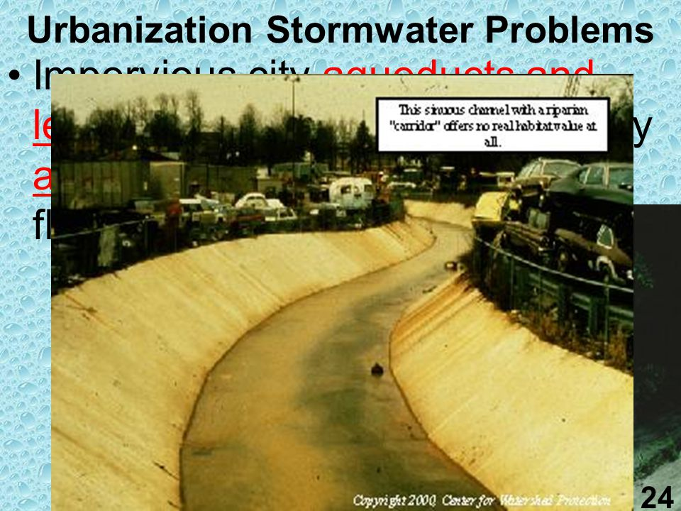 23 Urbanization Stormwater Problems Often urban runoff is dumped straight back to rivers and lakes without treatment
