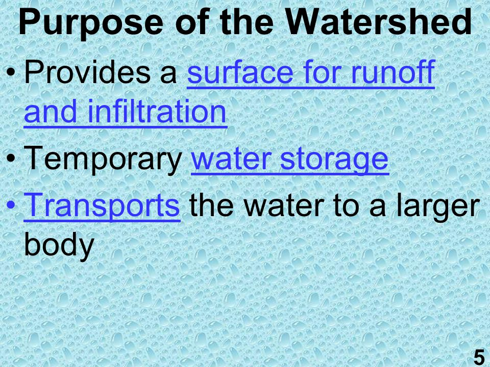 Involve infiltrated groundwater discharge and surface water in the form of runoff Transport water all over the Earth's surface Include diverse environments: urban, suburban and rural- lawns, forests, farms, parking lots, buildings, skyscrapers, etc.