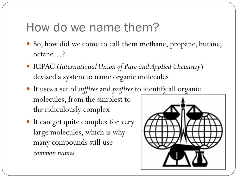 The Name Think of naming a molecule as just like naming a person: Person: First Name(1) + Middle Names(2) + Family Name(3) Molecule: Branch Prefixes(2) + Root Name (1) + Family Suffixes(3) Alkanes all have the family suffix –ane.