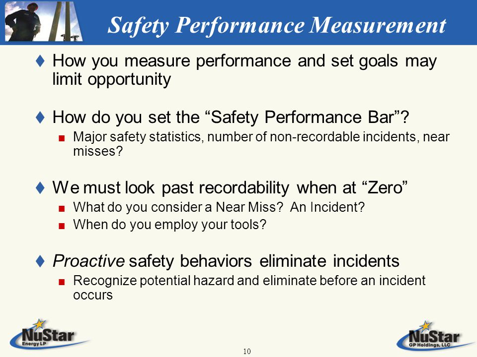 10 Safety Performance Measurement t t How you measure performance and set goals may limit opportunity t t How do you set the Safety Performance Bar .