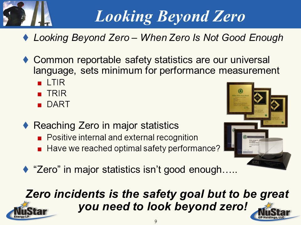 9 Looking Beyond Zero t t Looking Beyond Zero – When Zero Is Not Good Enough t t Common reportable safety statistics are our universal language, sets minimum for performance measurement LTIR TRIR DART t t Reaching Zero in major statistics Positive internal and external recognition Have we reached optimal safety performance.