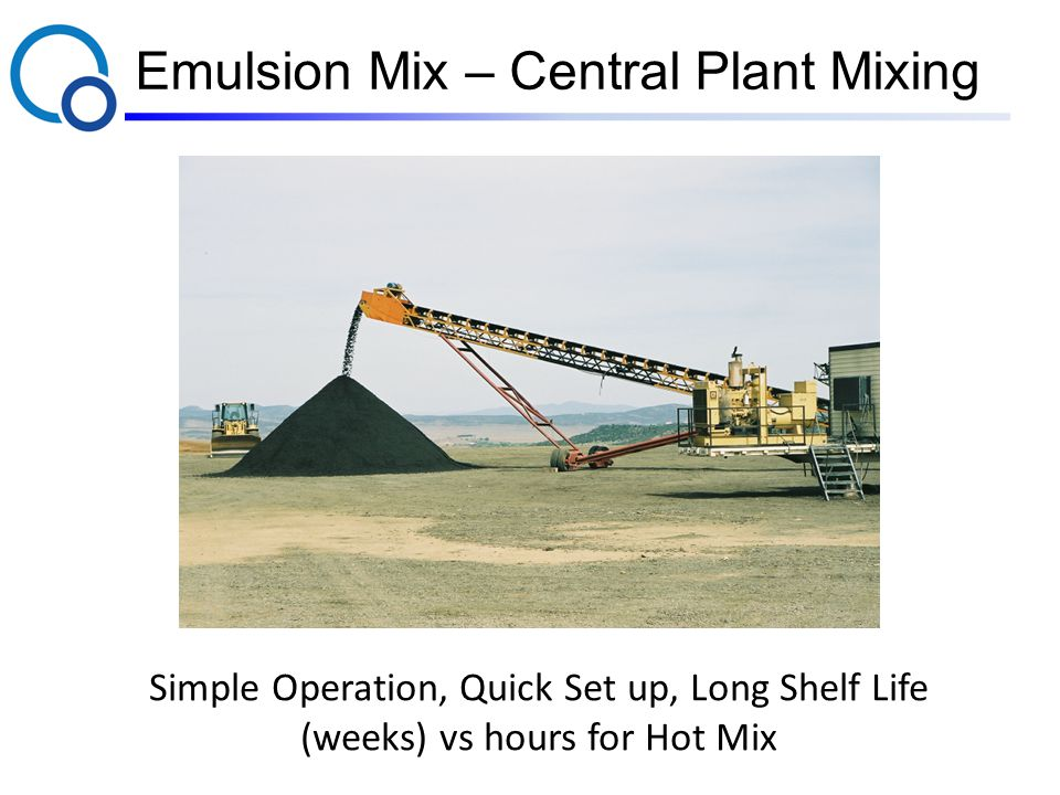 Emulsion Mix – Central Plant Mixing Simple Operation, Quick Set up, Long Shelf Life (weeks) vs hours for Hot Mix