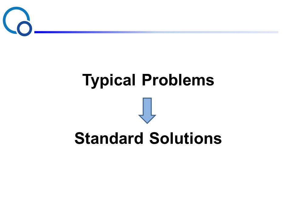 Typical Problems Standard Solutions