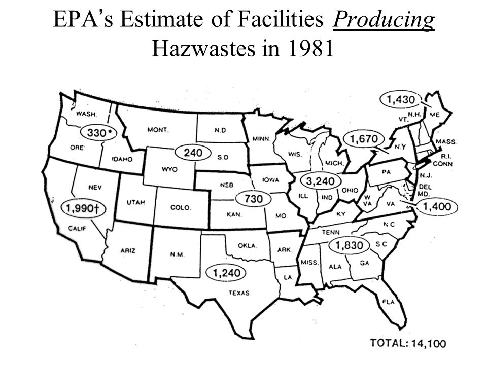 EPA's Estimate of Facilities Producing Hazwastes in 1981