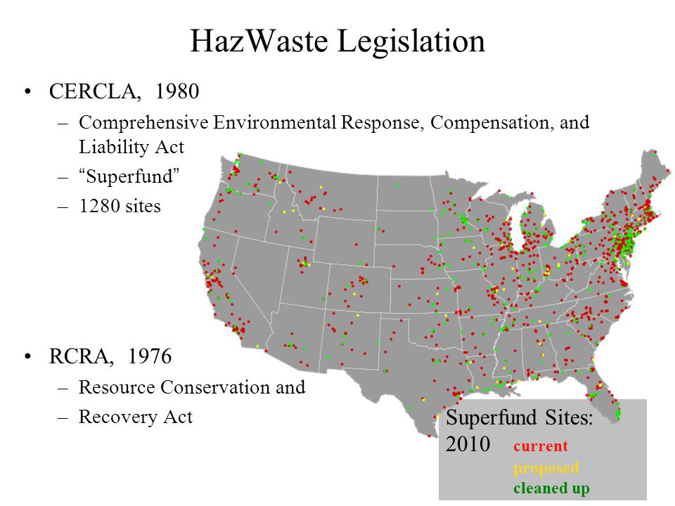 HazWaste Legislation CERCLA, 1980 –Comprehensive Environmental Response, Compensation, and Liability Act – Superfund –1280 sites RCRA, 1976 –Resource Conservation and –Recovery Act Superfund Sites: 2010 current proposed cleaned up