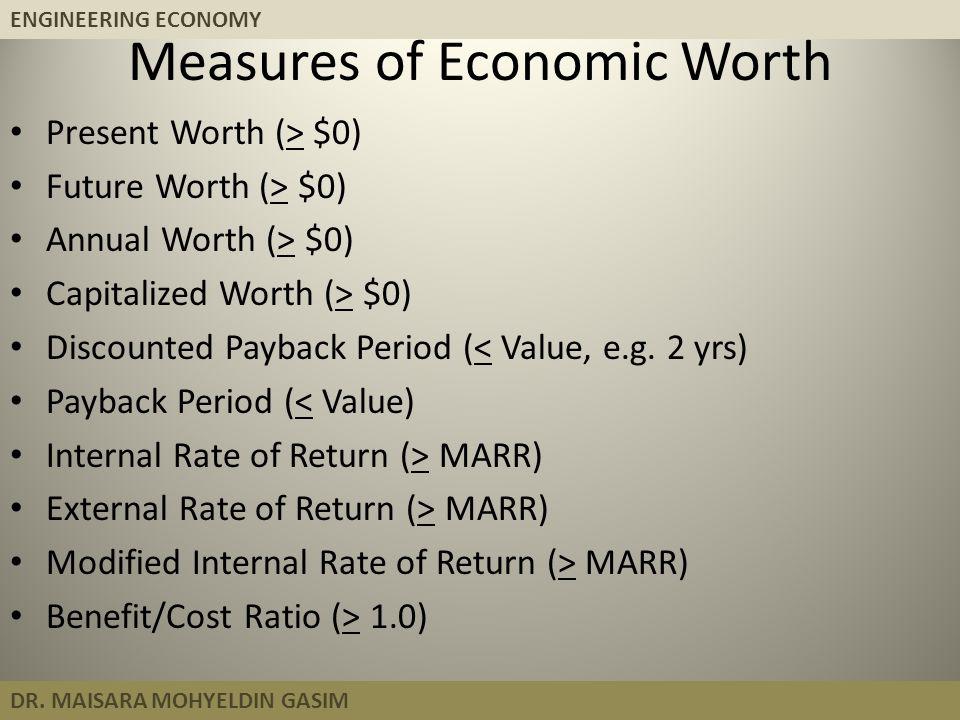 ENGINEERING ECONOMY DR. MAISARA MOHYELDIN GASIM Measures of Economic Worth Present Worth (> $0) Future Worth (> $0) Annual Worth (> $0) Capitalized Wo