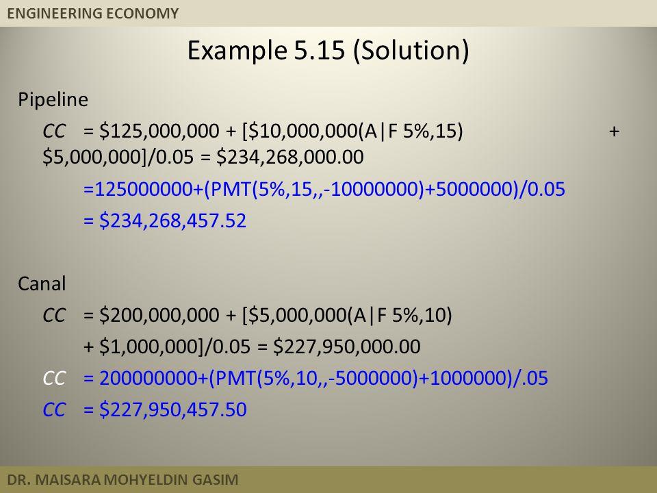 ENGINEERING ECONOMY DR. MAISARA MOHYELDIN GASIM Pipeline CC = $125,000,000 + [$10,000,000(A|F 5%,15) + $5,000,000]/0.05 = $234,268,000.00 =125000000+(