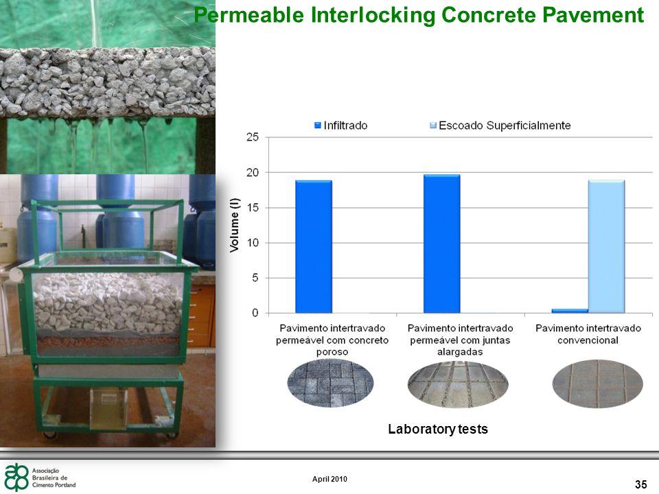 35 April 2010 Laboratory tests Permeable Interlocking Concrete Pavement