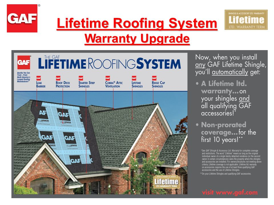 Install Any GAF Lifetime Shingle & You'll Automatically Get: A Lifetime ltd. warranty on your shingles and all!† PLUS Non-prorated coverage for the fi