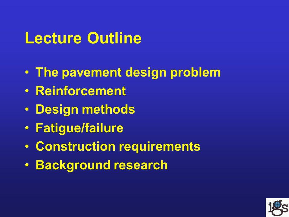 Lecture Outline The pavement design problem Reinforcement Design methods Fatigue/failure Construction requirements Background research