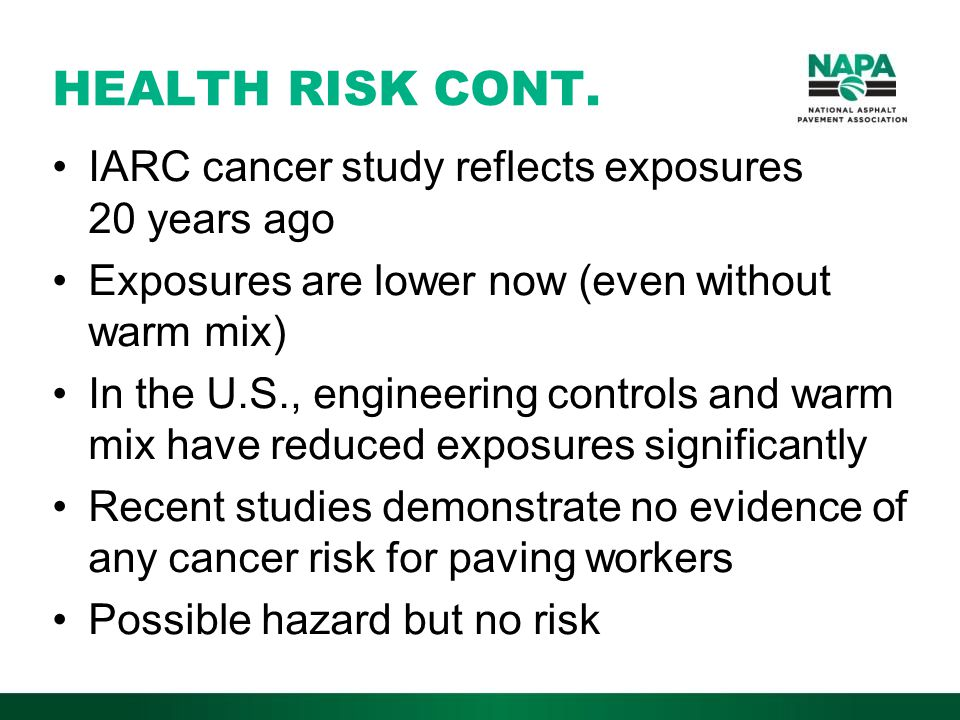 HEALTH RISK CONT.
