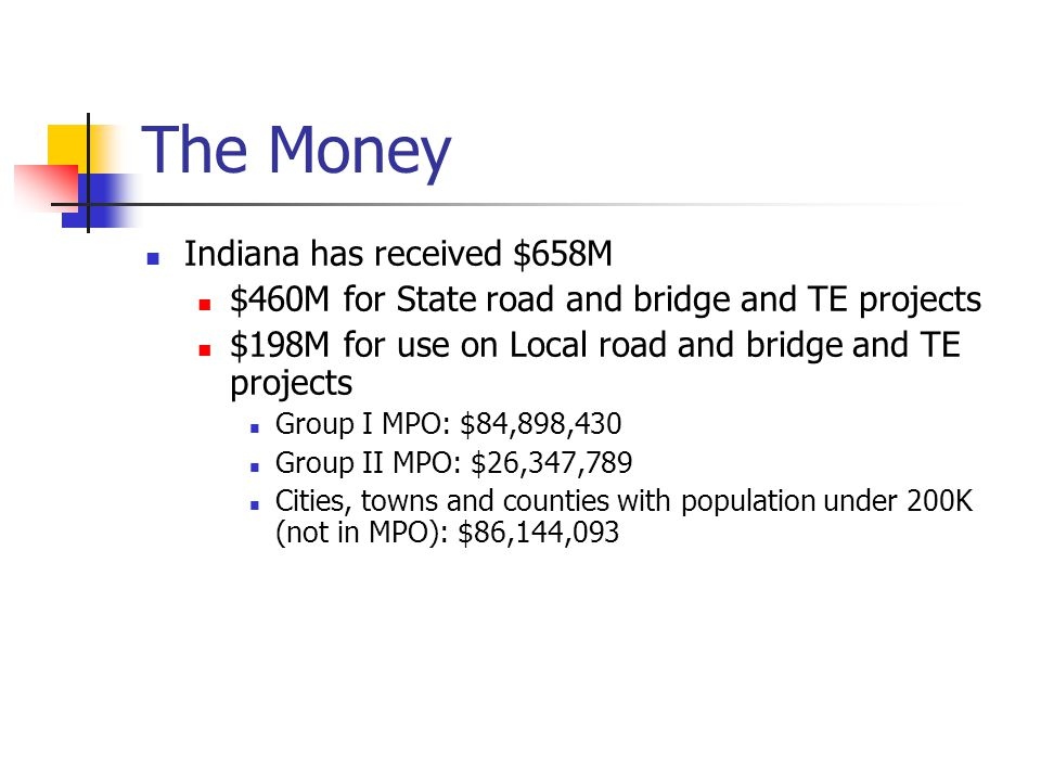 The Money Indiana has received $658M $460M for State road and bridge and TE projects $198M for use on Local road and bridge and TE projects Group I MPO: $84,898,430 Group II MPO: $26,347,789 Cities, towns and counties with population under 200K (not in MPO): $86,144,093