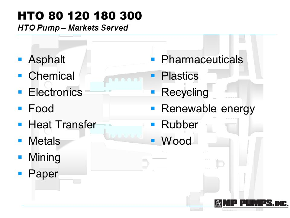 HTO 80 120 180 300 HTO Pump – Markets Served  Asphalt  Chemical  Electronics  Food  Heat Transfer  Metals  Mining  Paper  Pharmaceuticals  Plastics  Recycling  Renewable energy  Rubber  Wood
