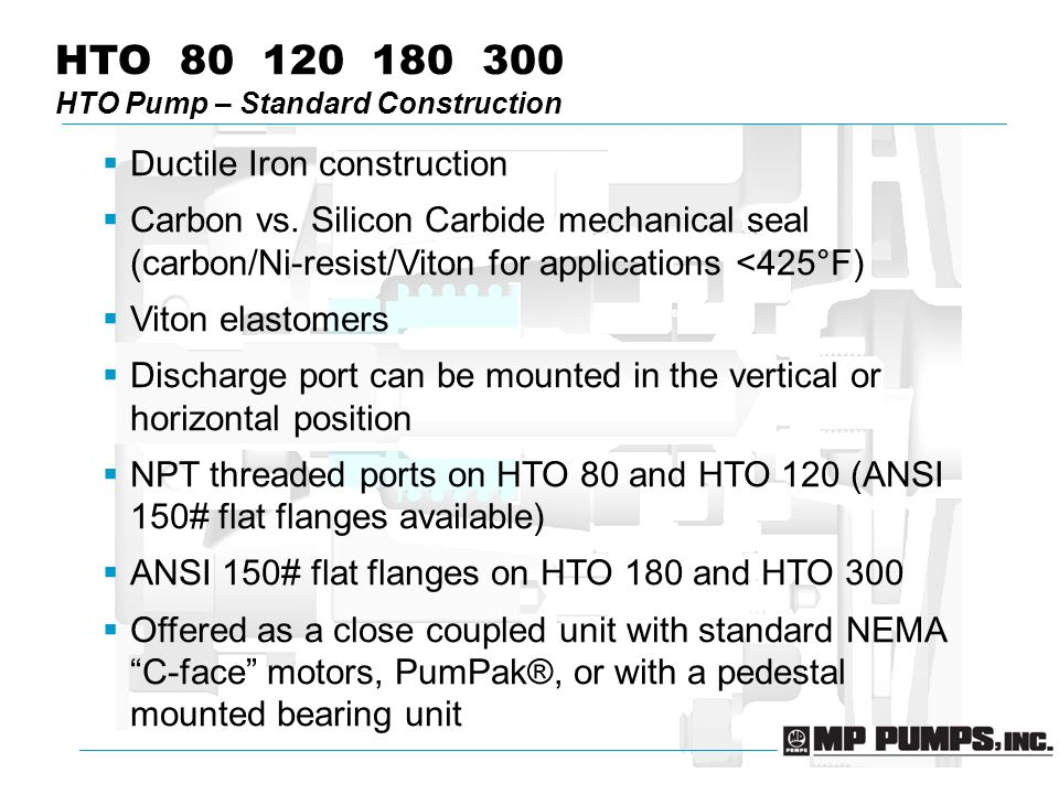 HTO 80 120 180 300 HTO Pump – Standard Construction  Ductile Iron construction  Carbon vs.