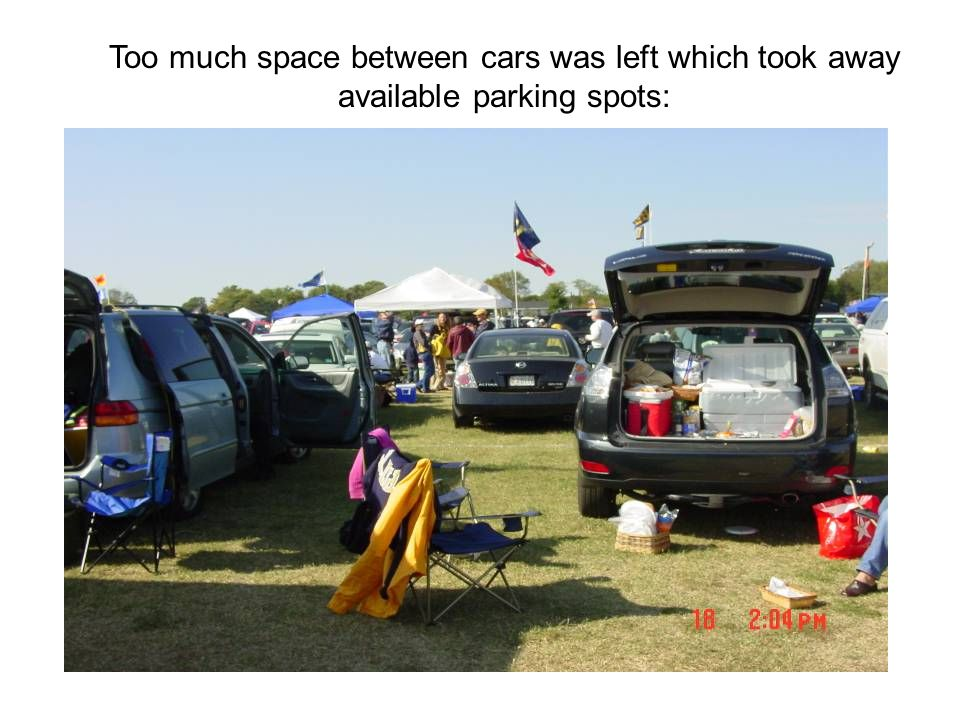 Too much space between cars was left which took away available parking spots: