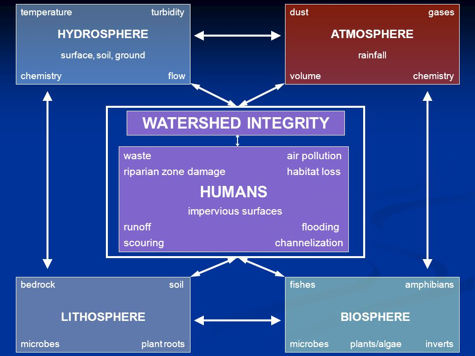 temperature turbidity HYDROSPHERE surface, soil, ground chemistry flow WATERSHED INTEGRITY waste air pollution riparian zone damage habitat loss HUMANS impervious surfaces runoff flooding scouring channelization fishes amphibians BIOSPHERE microbes plants/algae inverts bedrock soil LITHOSPHERE microbes plant roots dust gases ATMOSPHERE rainfall volume chemistry