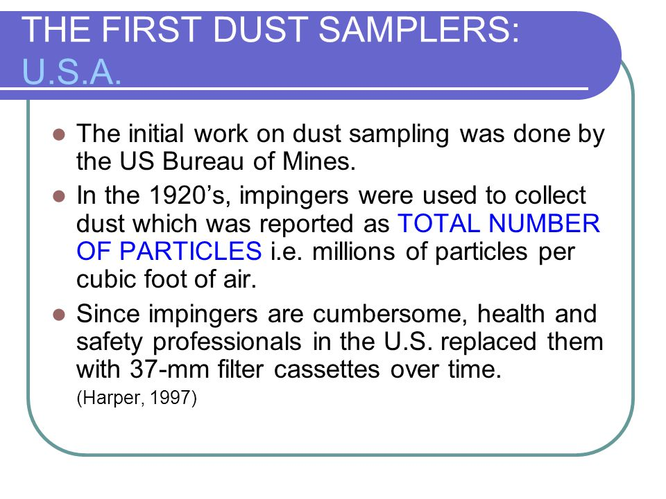 JOEH ARTICLE BY NIOSH NIOSH Researchers report: Dust deposits on the walls of filter cassettes were 19% of the total sample for lead and 25% of the total sample for copper.