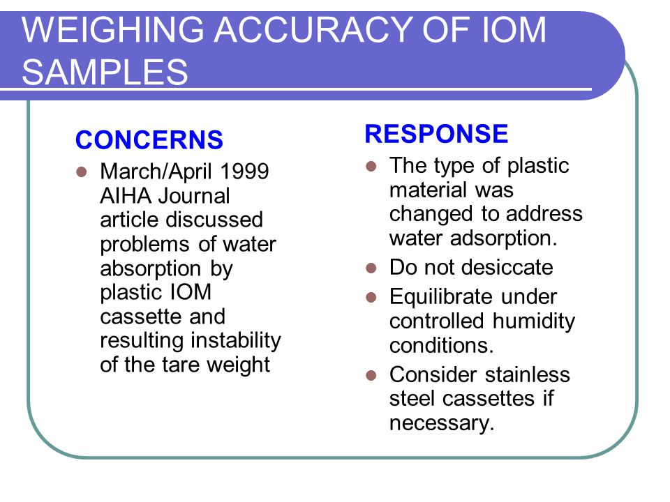 WEIGHING ACCURACY OF IOM SAMPLES CONCERNS March/April 1999 AIHA Journal article discussed problems of water absorption by plastic IOM cassette and res