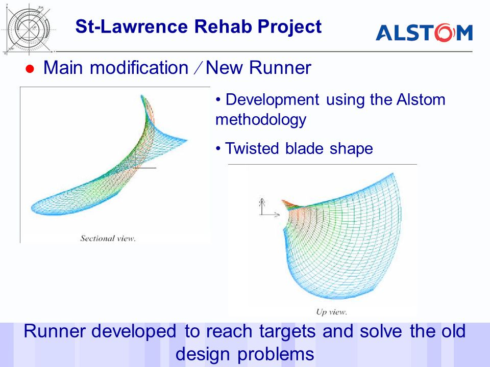 - 37 - St-Lawrence Rehab Project Main modification  New Runner Runner developed to reach targets and solve the old design problems Development using the Alstom methodology Twisted blade shape