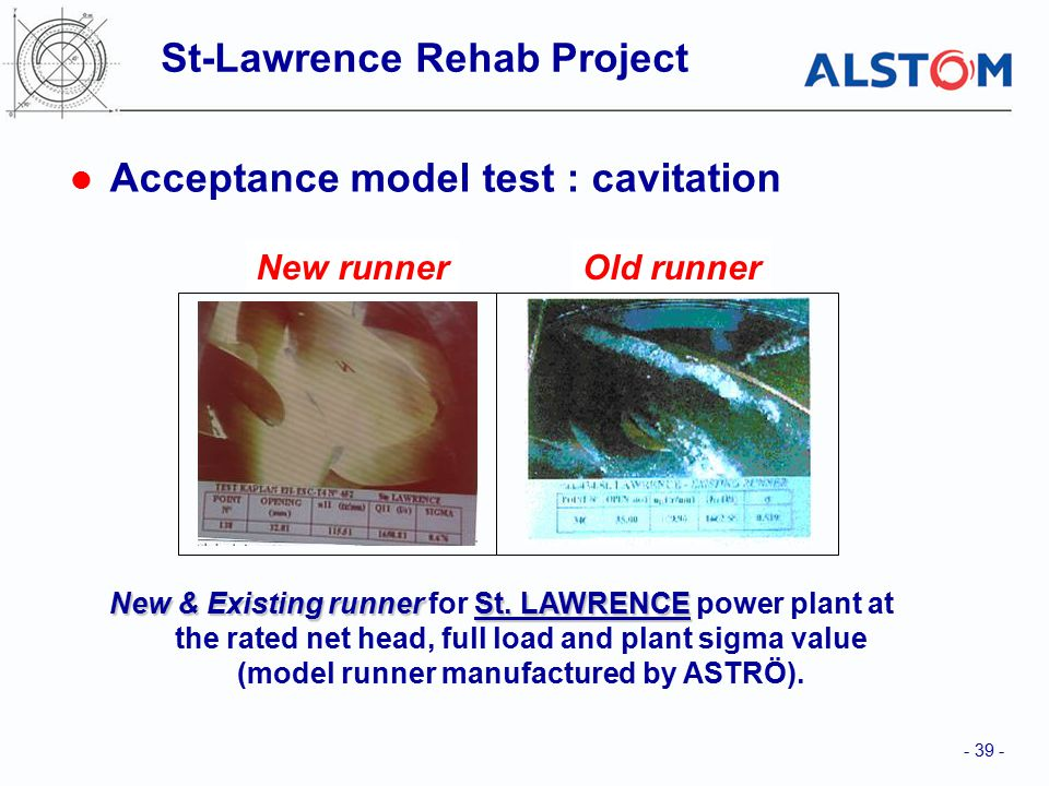 - 39 - New & Existing runnerSt.LAWRENCE New & Existing runner for St.