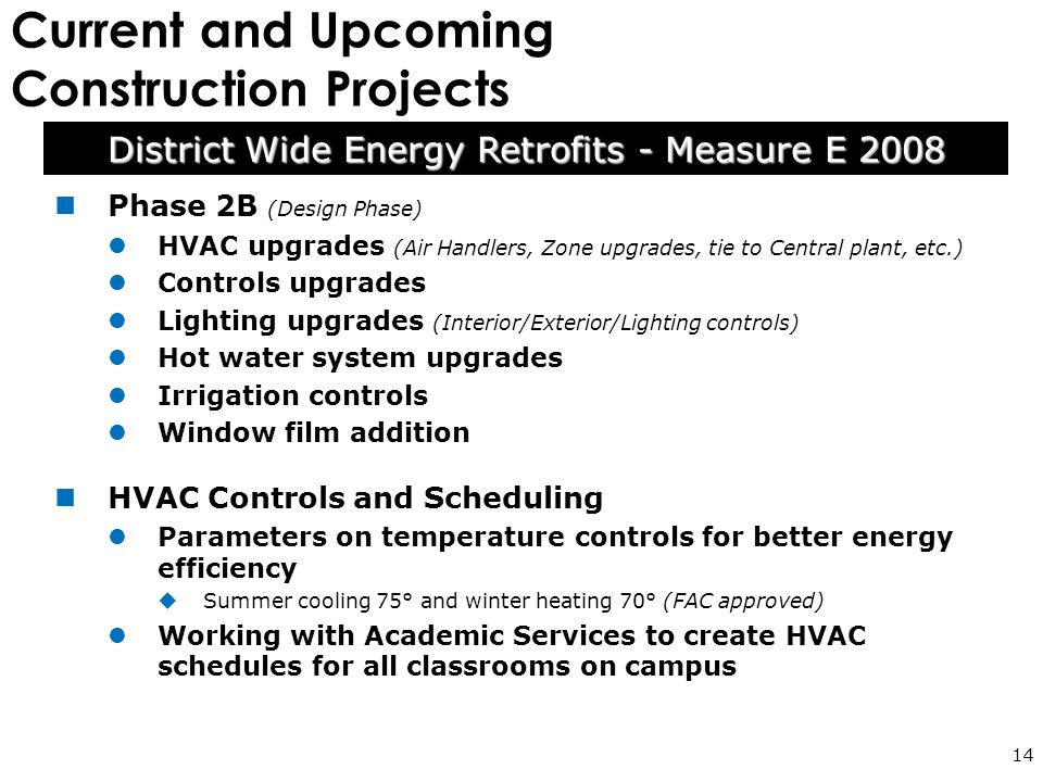 Current and Upcoming Construction Projects 14 Phase 2B (Design Phase) HVAC upgrades (Air Handlers, Zone upgrades, tie to Central plant, etc.) Controls upgrades Lighting upgrades (Interior/Exterior/Lighting controls) Hot water system upgrades Irrigation controls Window film addition HVAC Controls and Scheduling Parameters on temperature controls for better energy efficiency  Summer cooling 75° and winter heating 70° (FAC approved) Working with Academic Services to create HVAC schedules for all classrooms on campus District Wide Energy Retrofits - Measure E 2008