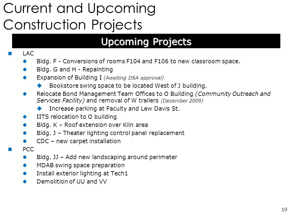 Current and Upcoming Construction Projects 19 LAC Bldg.