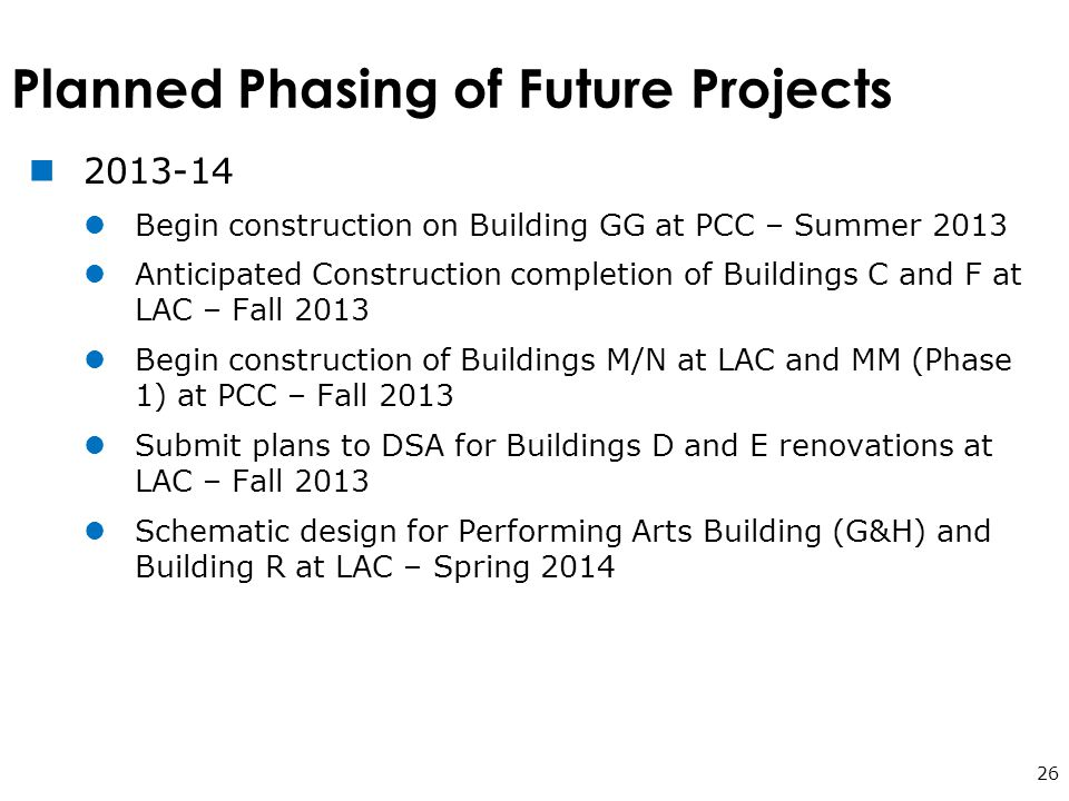 Planned Phasing of Future Projects 26 2013-14 Begin construction on Building GG at PCC – Summer 2013 Anticipated Construction completion of Buildings C and F at LAC – Fall 2013 Begin construction of Buildings M/N at LAC and MM (Phase 1) at PCC – Fall 2013 Submit plans to DSA for Buildings D and E renovations at LAC – Fall 2013 Schematic design for Performing Arts Building (G&H) and Building R at LAC – Spring 2014