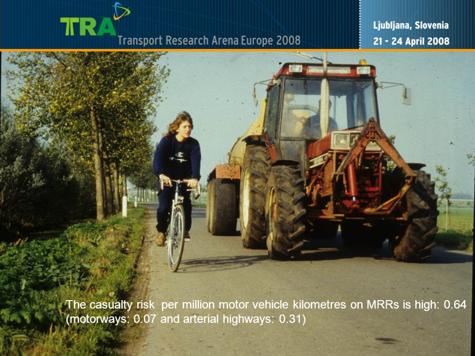 7 The casualty risk per million motor vehicle kilometres on MRRs is high: 0.64 (motorways: 0.07 and arterial highways: 0.31)
