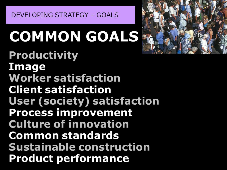DEVELOPING STRATEGY – GOALS Productivity Image Worker satisfaction Client satisfaction User (society) satisfaction Process improvement Culture of innovation Common standards Sustainable construction Product performance COMMON GOALS