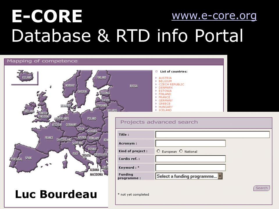 Database & RTD info Portal Luc Bourdeau www.e-core.org