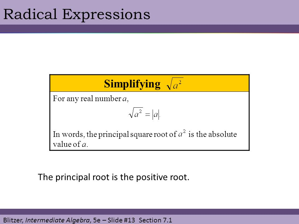 Blitzer, Intermediate Algebra, 5e – Slide #13 Section 7.1 Radical Expressions Simplifying T For any real number a, In words, the principal square root of is the absolute value of a.