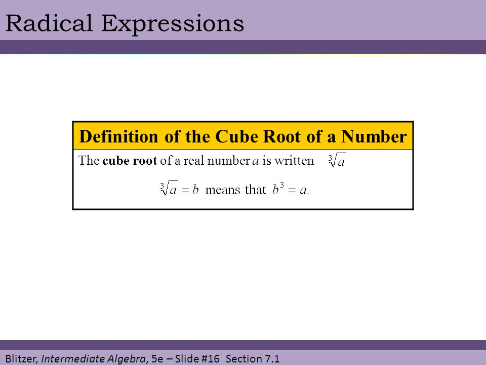 Blitzer, Intermediate Algebra, 5e – Slide #16 Section 7.1 Radical Expressions Definition of the Cube Root of a Number The cube root of a real number a is written.