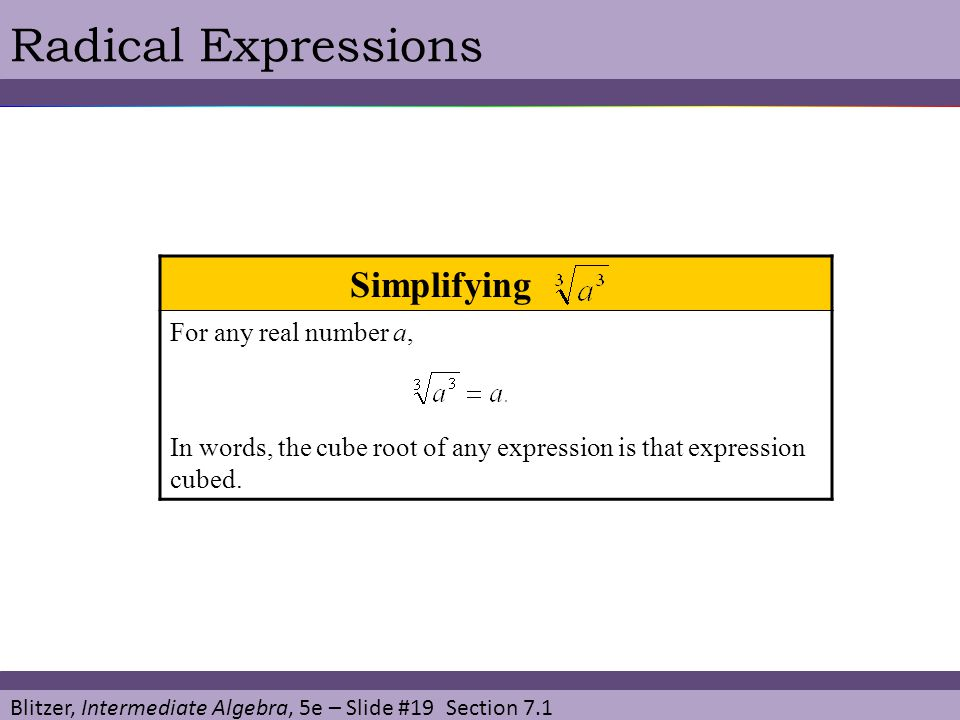 Blitzer, Intermediate Algebra, 5e – Slide #19 Section 7.1 Radical Expressions Simplifying T For any real number a, In words, the cube root of any expression is that expression cubed.