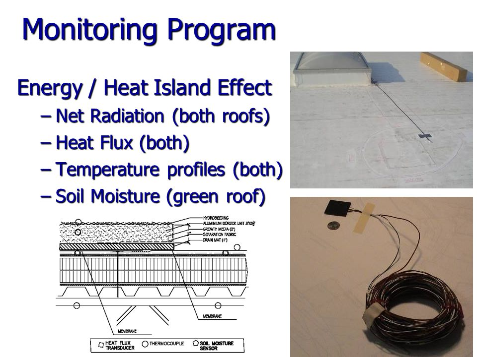Monitoring Program Energy / Heat Island Effect –Net Radiation (both roofs) –Heat Flux (both) –Temperature profiles (both) –Soil Moisture (green roof)