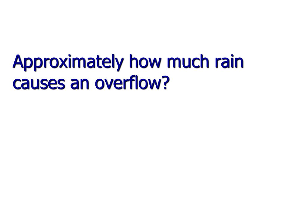 Approximately how much rain causes an overflow?
