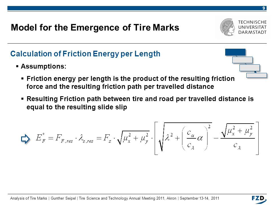 Analysis of Tire Marks | Gunther Seipel | Tire Science and Technology Annual Meeting 2011, Akron | September 13-14, 2011 10 Model for the Emergence of Tire Marks Identification of Relevant Driving Dynamic Parameters  Wheel load, longitudinal slip and slide slip angle determine the amount of friction energy per length  Hypotheses: 1.No tire marks occur for pure deformation slip, i.e.