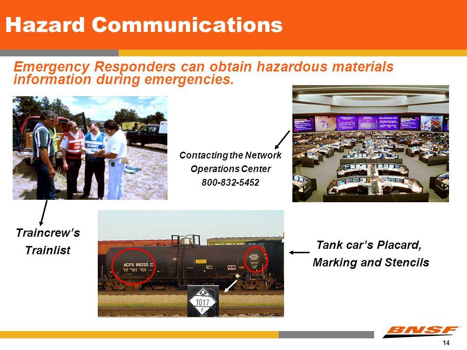 14 Hazard Communications Emergency Responders can obtain hazardous materials information during emergencies.