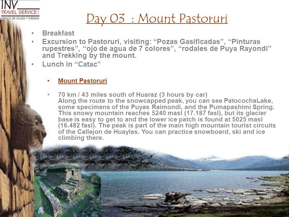 Day 03 : Mount Pastoruri Breakfast Excursion to Pastoruri, visiting: Pozas Gasificadas , Pinturas rupestres , ojo de agua de 7 colores , rodales de Puya Rayondi and Trekking by the mount.