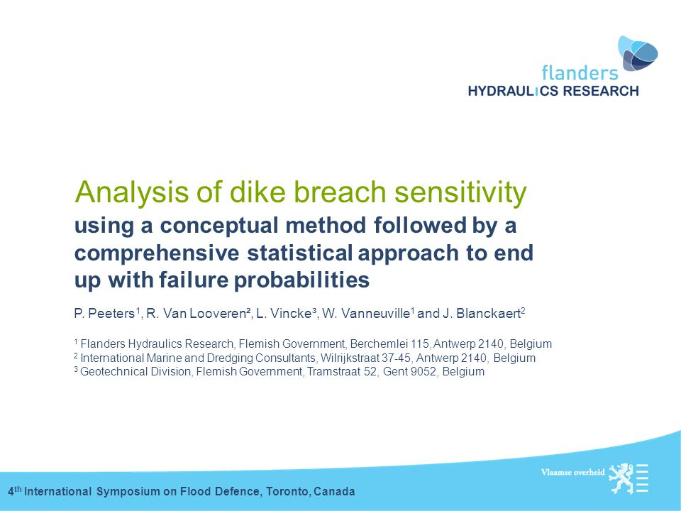 Analysis of dike breach sensitivity using a conceptual method followed by a comprehensive statistical approach to end up with failure probabilities 4
