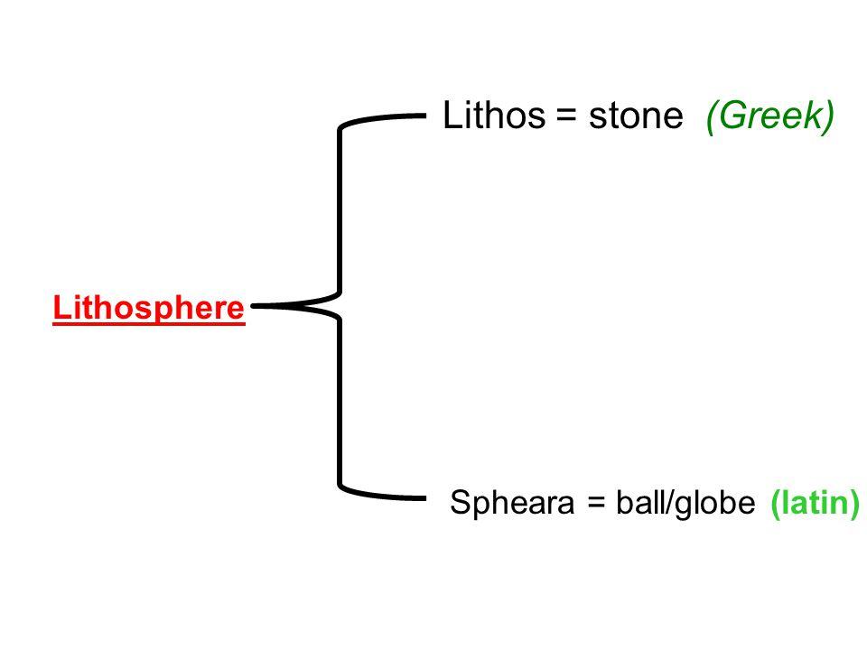 Lithosphere Lithos = stone (Greek) Spheara = ball/globe (latin)