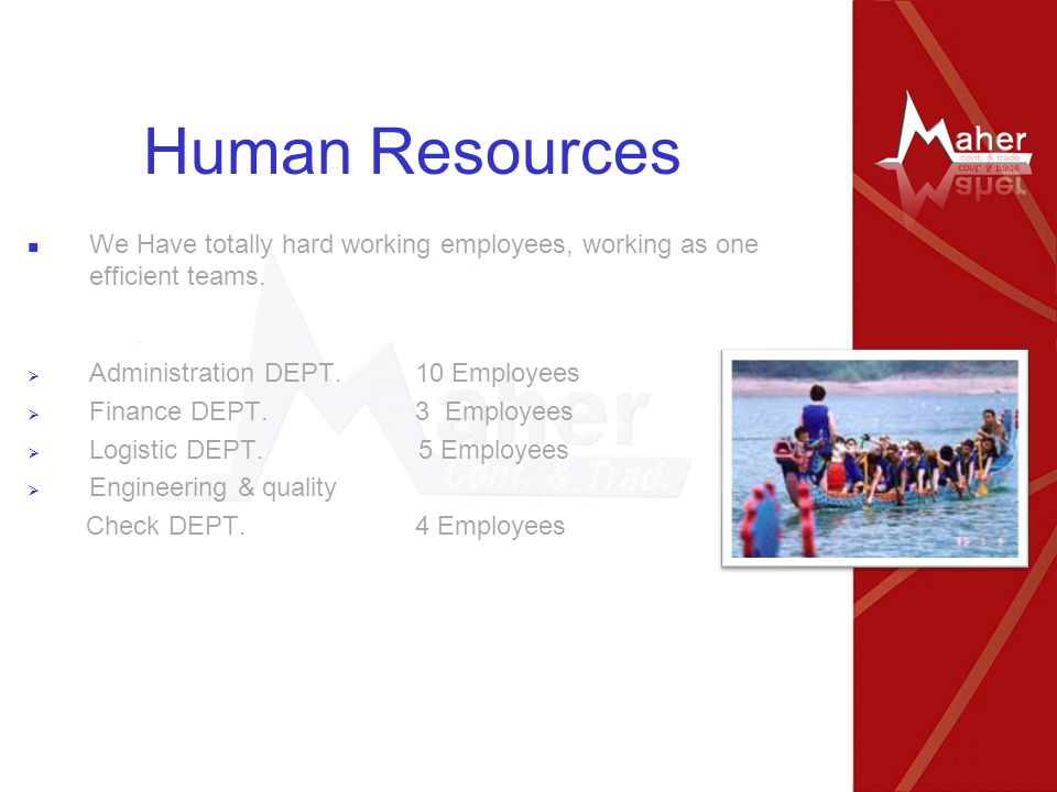 Human Resources We Have totally hard working employees, working as one efficient teams.