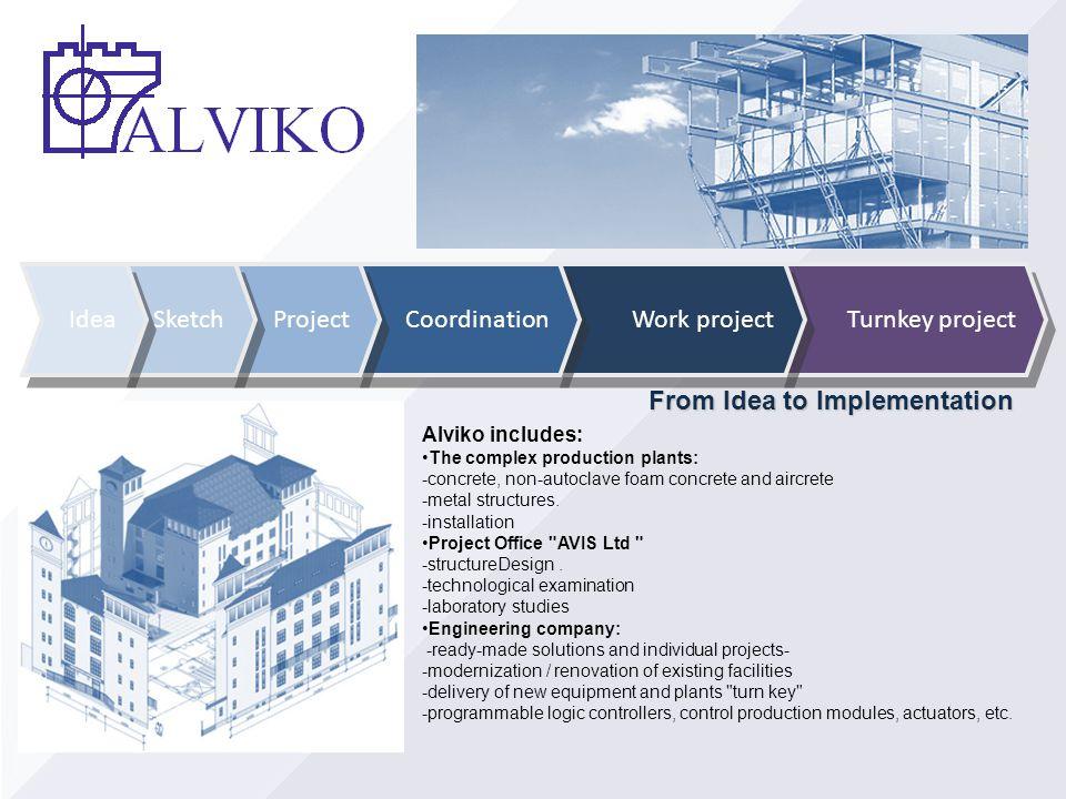 Alviko includes: The complex production plants: -concrete, non-autoclave foam concrete and aircrete -metal structures. -installation Project Office