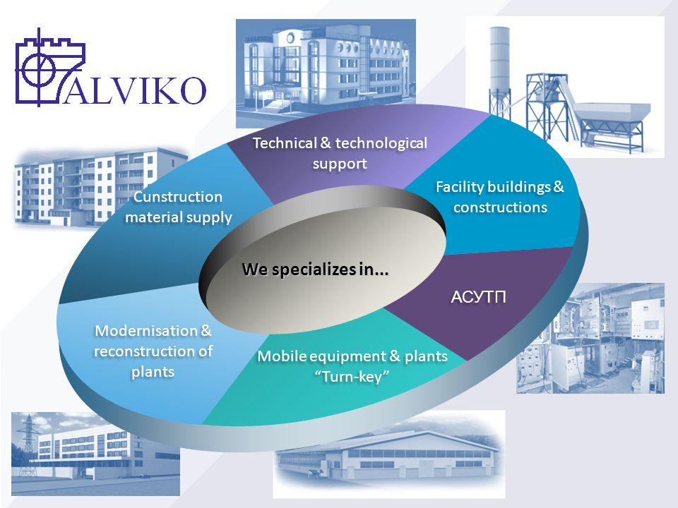 "Mobile equipment & plants ""Turn-key"" Mobile equipment & plants ""Turn-key"" Cunstruction material supply Cunstruction material supply АСУТП Facility bui"