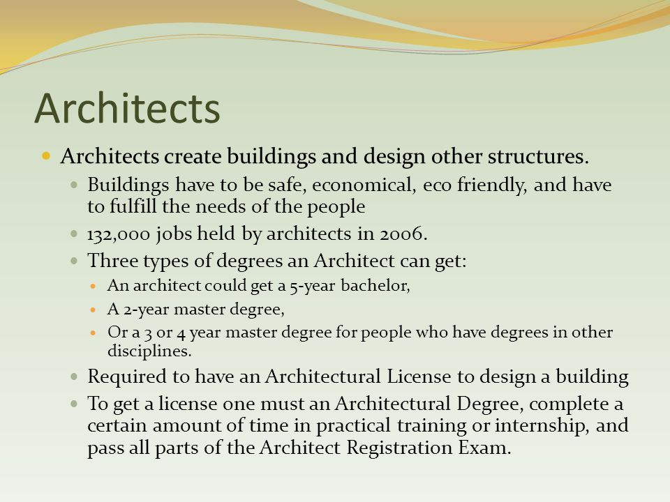 Architects Architects create buildings and design other structures.