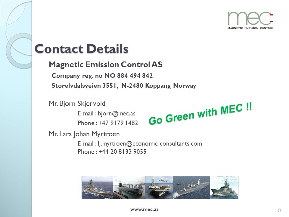 Contact Details Magnetic Emission Control AS Company reg.