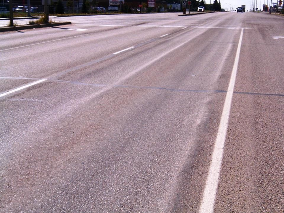 Other Failure Modes Shear failure rutting (asphalt layer) –Related to heavy and slow moving trucks –Typically seen at intersections, VIS 14