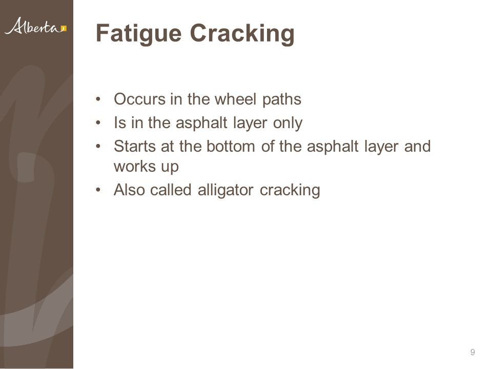 Fatigue Cracking Occurs in the wheel paths Is in the asphalt layer only Starts at the bottom of the asphalt layer and works up Also called alligator cracking 9