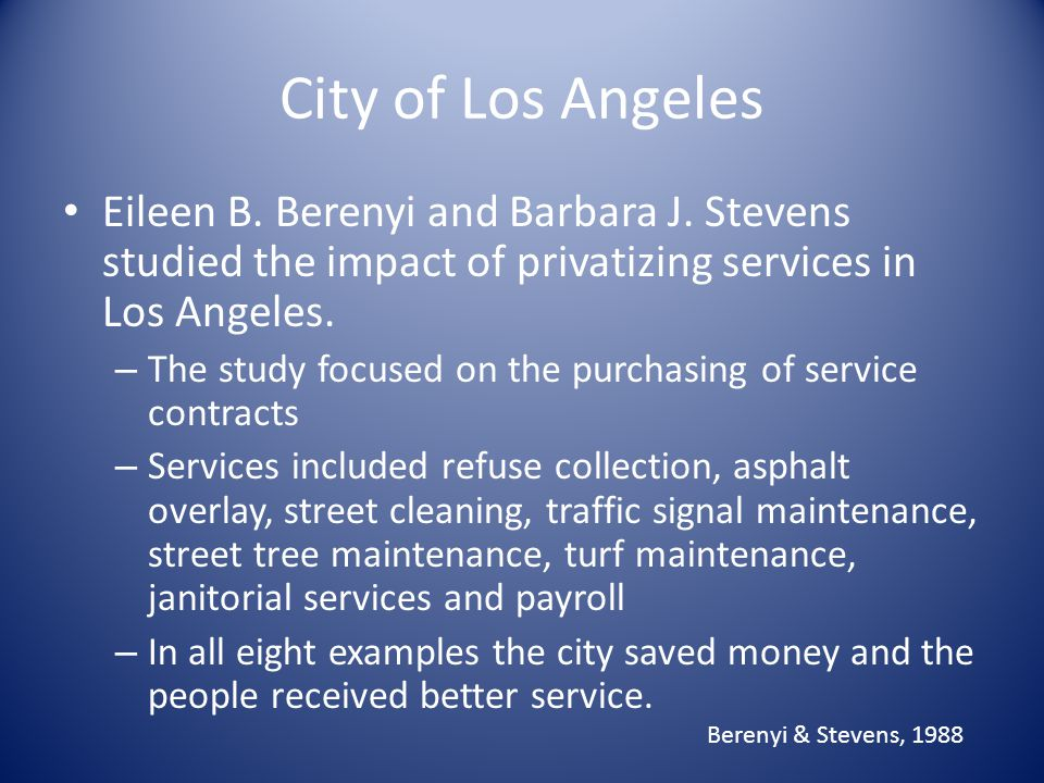 City of Los Angeles Eileen B. Berenyi and Barbara J.