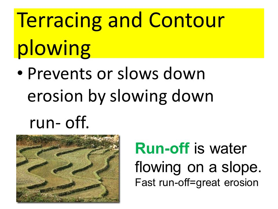 Terracing and Contour plowing Prevents or slows down erosion by slowing down run- off.