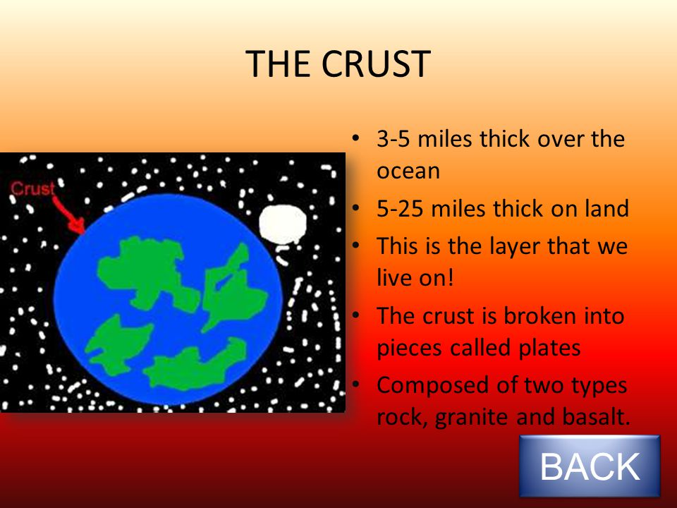THE CRUST 3-5 miles thick over the ocean 5-25 miles thick on land This is the layer that we live on.